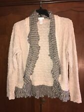 CHICO'S Size 1 Ruffle Open Cardigan Sweater Top Metallic M 10