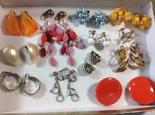 LOT 12 pair vintage earrings clip screw back beaded costume jewelry silver gold