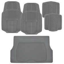 ACDelco All Weather Gray Rubber Car Floor Mats 5 PC  Trimmable Set