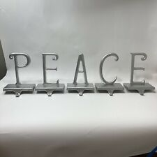 Pottery Barn Stocking Holder Set 5 Pieces PEACE Script Silver Hanger Christmas