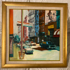 Prince Street NYC Rose Avery 1989 Painting On Canvas Framed 25X25 Bowery Signed