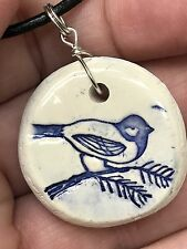 "Bird Worry Stone Handmade Pottery Native American 18"" Black Rope Necklace Blue"
