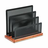 Rolodex Mini Sorter, Three Sections, Metal/Wood, 7.5 x 3.5 x 5.75 Inches, Black/