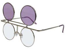 Round Flip up Sunglasses Glasses Color Lens Retro Steampunk Vintage Silvr Purple
