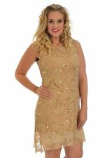 New Womens Dress Tunic Floral Lace Line Sequin Party Flapper Nouvelle Plus Size
