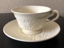 Wedgwood Patrician China Teacup & Saucer Plain Off White Embossed Scroll