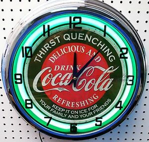 "17"" Drink Coca-Cola Thirst Quenching Coke Sign Green Neon Clock"