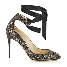 JIMMY CHOO 'rosana' 100 Black Crystal Hotfix Heels Shoes UK 2 Eu 35 Rrp £1595