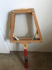 Vintage Wooden Tennis Racket Press Wood Holder Case + HANOVER (ROBIN) Racket
