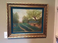 TEXAS BLUEBONNET OIL PAINTING ON BOARD BY TEXAS ARTIST AUGUSTE HUDEL