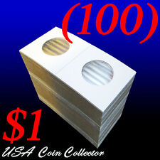 (100) Small Dollar Size 2x2 Mylar Cardboard Coin Flips for Storage | $1 Holders