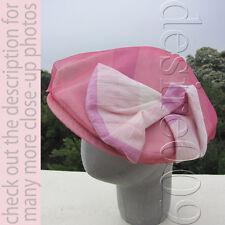 Ca4La (Japan) Patchwork Bow Motif Silk Blend Pink Chiffon 2 Layer Fedora Cap Hat