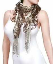CLEARANCE NEW FASHION 3 USE IN 1 LAYERED NET WITH FRINGE POLYESTER SCARF 2472A