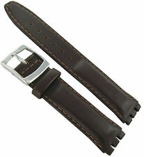 20mm Genuine Oiled Leather Padded Stitched Dark Brown Watch Band Fits Swatch