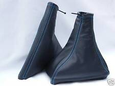 FITS VAUXHALL OPEL VECTRA B LEATHER SET OF GAITERS  BLUE STITCHING