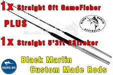 2x BMA 24kg Stand-up Game Fishing Rods 1x Str 6ft 1x Str 5'3ft Trolling Lures..