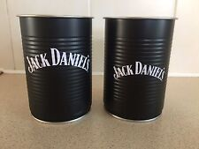 SET OF TWO DIFFERENT DESIGN JACK DANIELS BEAN TIN STORAGE POTS