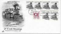 US Scott #1897A, First Day Cover 5/20/82 Chicago Plate #4 Coil Locomotive