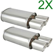 2X Polished Spun-locked Exhaust Oval Muffler Double Wall Dual Tip for Scion