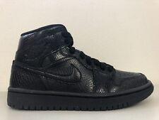 Nike Womens Air Jordan 1 Mid Black Snakeskin BQ6472-010 Size 5.5