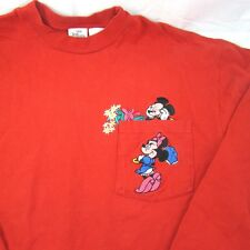 Disney Minnie Mickey Mouse Red Long Sleeve T-Shirt  Size L Disney Store