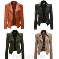 Womens Punk Lapel PU Leather Biker Motorcycle JackeT Coat Zip Outwears S-XXXL