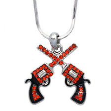 Western Movie Cowboy Cowgirl Orange Double Revolver Gun Pendant Necklace Jewelry