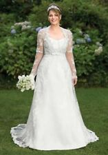 A-line Lace Long Sleeve Strapless Wedding Dresses