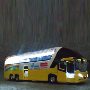 1:32 Alloy Pull Back Sightseeing Double Decker Bus Toy Model with Sound Light