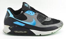 MENS NIKE AIR MAX 90 HYPERFUSE SHOES SIZE 11.5 PREMIUM ID 488033 BLACK GRAY  BLUE 5e3e3ae35