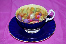 Aynsley Colbalt Blue Orchard Fruit Cup and Saucer S5004