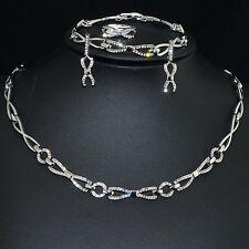 V485 S. Crystal 18K WGP Earrings Bracelet Necklace Set Party Gift Ring Size 7