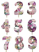 "VIOLET BOUQUET Print Design Birthday NUMBER Cake Topper 5.5"" Tall Choose Number"