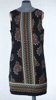Red Herring Black Paisley Wide Strap Retro Short Scarf Prinr Ethno Dress UK 12