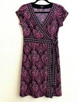 Apt. 9 Womens Faux Wrap Dress Purple Geometric Knee Length V Neck Cap Sleeve S