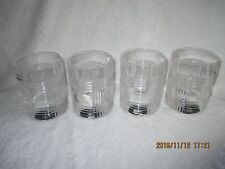 Ralph Lauren Glen Plaid Set of 4 Double Old Fashioned Crystal Glasses