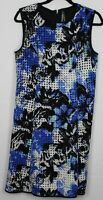 MARC NEW YORK Size 10 Women's Dress Sleeveless Sheath Lined Black & Blue Floral
