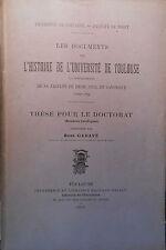 René GADAVE, Documents Histoire Université Toulouse Droit Civil Canonique 1910