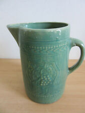 Antique stoneware salt glaze green large pitcher grape pattern