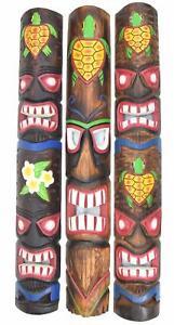 3 Máscara Pared Tiki 100cm Tortugas 3 Máscaras de Maui