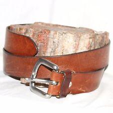"Vintage brown leather Belt  sz S 30 1½""w silver buckle"