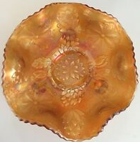 "Fenton Carnival Glass Marigold ""Water lily"" Footed Sauce Candy Bowl 6"" Excellent"