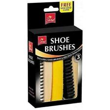 Shoe Care Boot Polish Polishing Cleaning Kit 2 Brushes & 1 Shine Cloth Pack UK