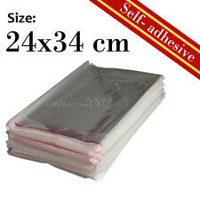 70Pcs New Self-Adhesive Cellophane Clear Resealable Plastic Bag 24x34cm A4 Size