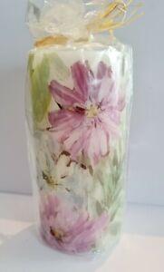 Laura Ashley - Cosmos Printed Pillar Candle - Soft Illumination - Floral Summer