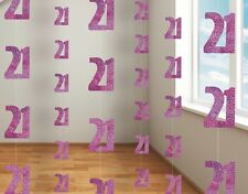 6 Pink Glitz 21st Birthday Party 5ft Hanging String Decorations