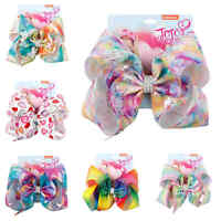 8inch Cartoon JOJO SIWA Bow Unicorn Hair Bow With Mermaid Clip Girl Kids Bowknot