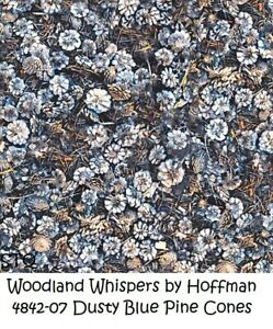 Woodland Whispers Cotton Quilt Fabric by Hoffman 4842-07 Pine Cones