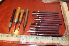wood carving tool set chisel awl antique germany japan vintage lot set art