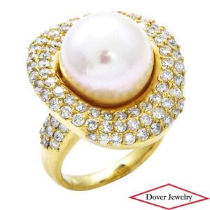 Estate 3.23ct Diamond South Sea Pearl 18K Gold Cocktail Ring 22.2 Grams NR